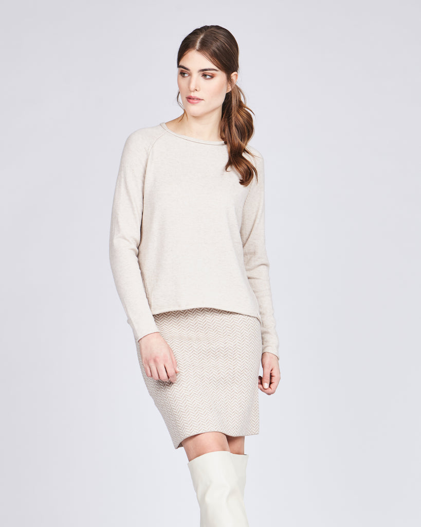 Tara Raw Edge Sweater - Vanilla