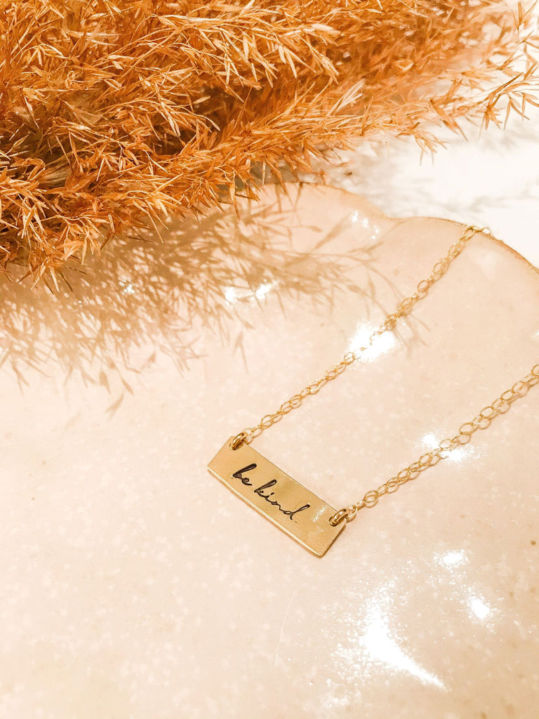 """Be Kind"" Bar Necklace - Gold Fill"