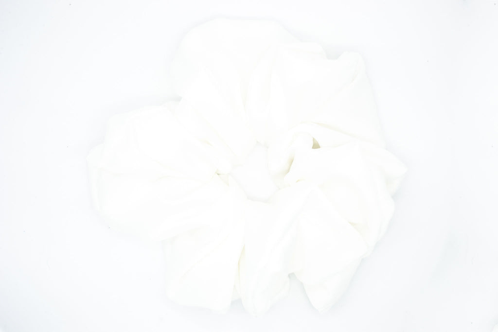 Soft Satin Cloud Scrunchie - White