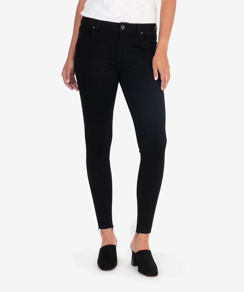 Donna High-Rise Skinny Raw Hem - Black