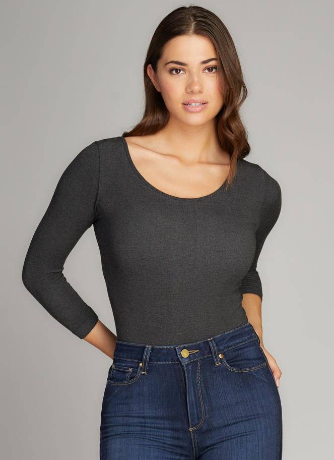 Bamboo 3/4 Sleeve Bodysuit - Heather Black