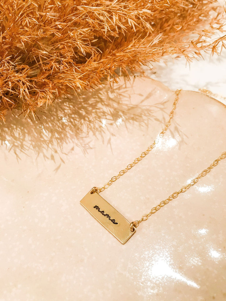 """Mama"" Bar Necklace - Gold Fill"