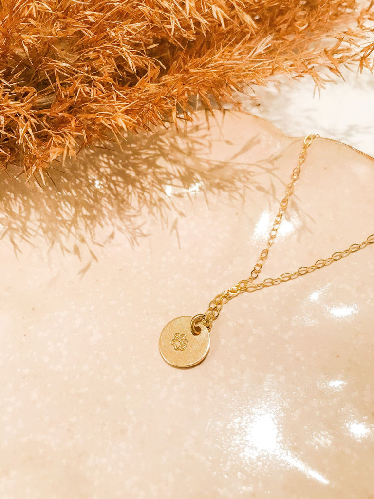 Paw Print Small Charm Necklace - Gold Fill