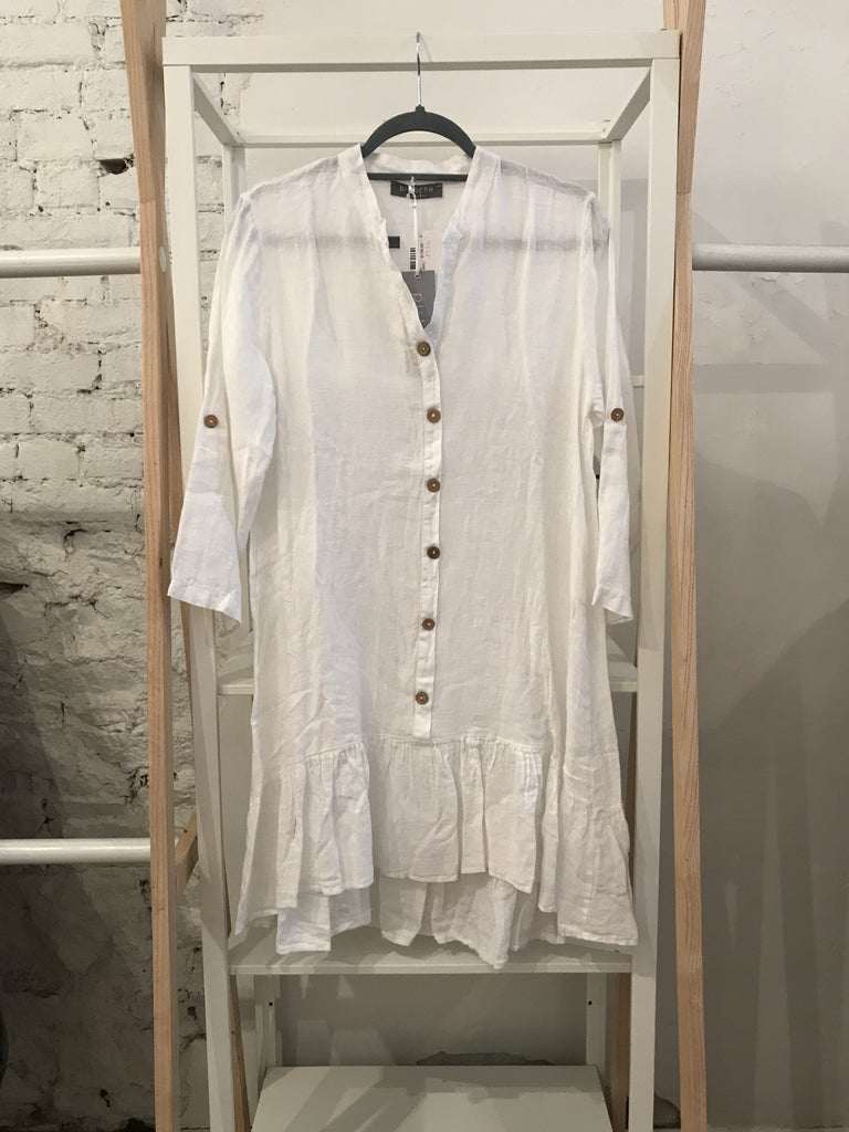 Lily Button-Down Dress - White
