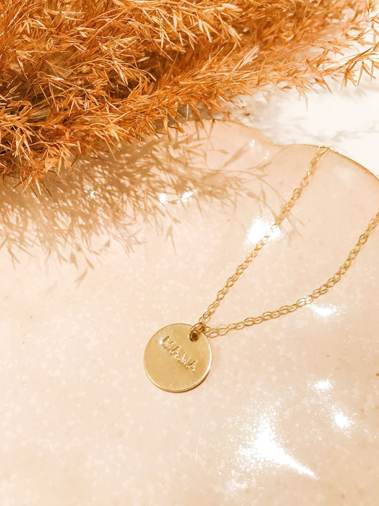 """Mama"" Medium Charm Necklace - Gold Fill"