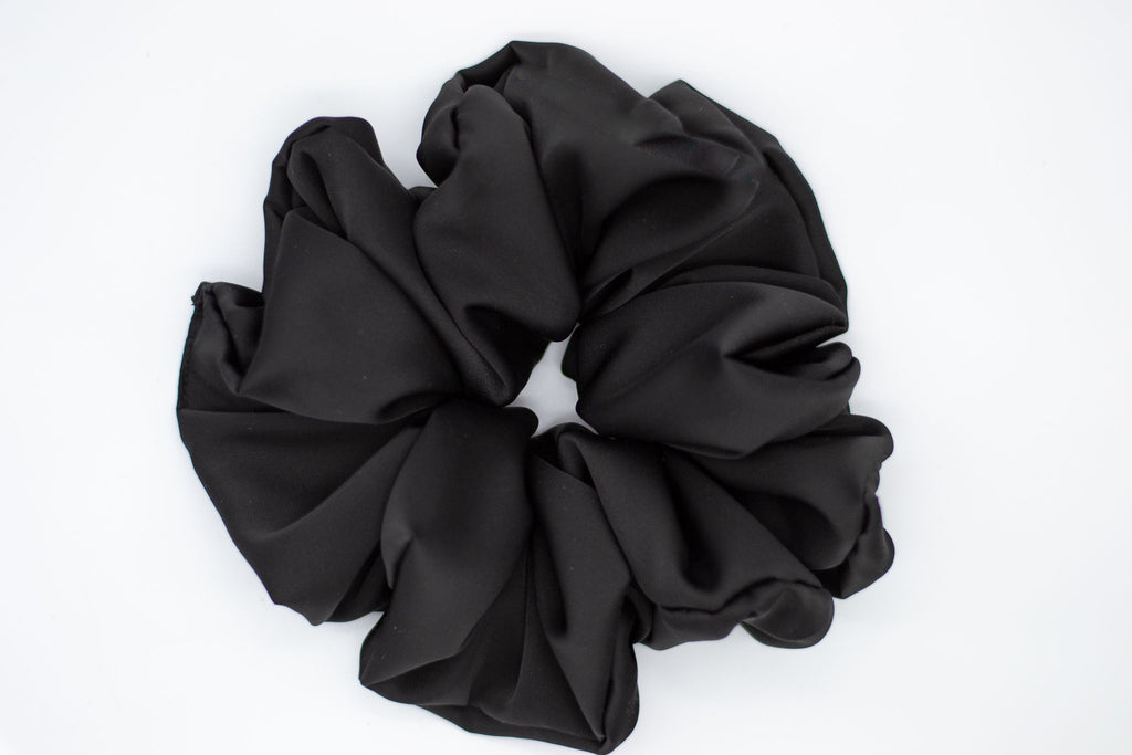 Soft Satin Cloud Scrunchie - Black
