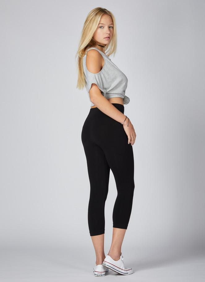 High Waisted Legging 3/4 Length - Black