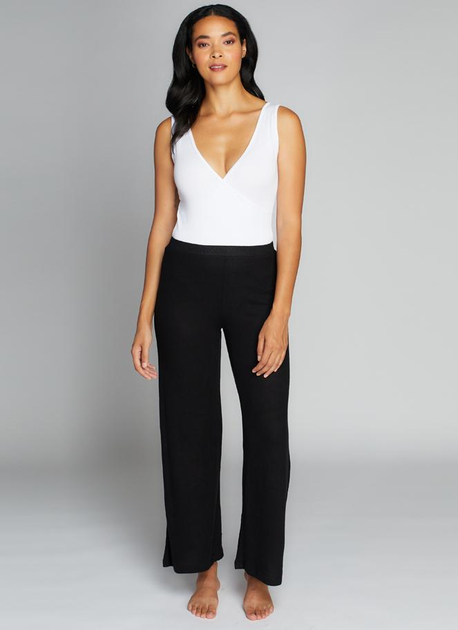 Daphne Soft Knit Wide Leg Pant - Black
