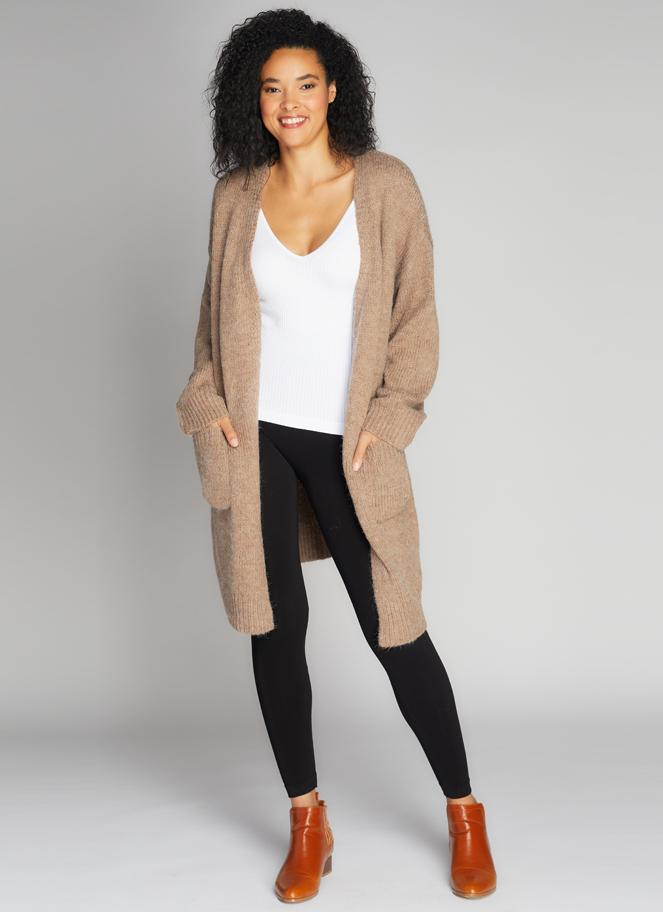 Yaritzia Tie-Front Cardigan - Taupe