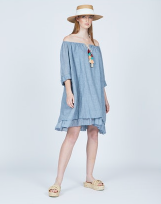 Ira Crinkle Dress - Blue