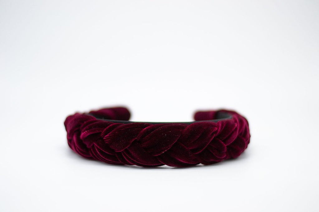 Braided Velvet Headband - Merlot