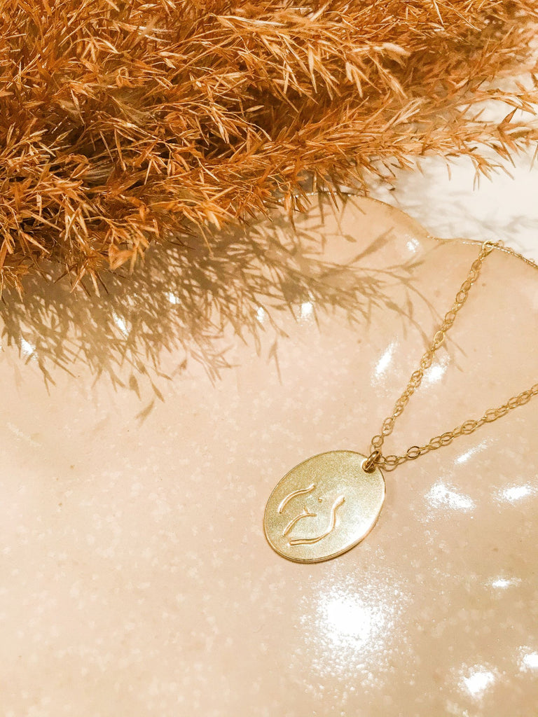 Female Embodiment Signet Necklace - Gold Fill