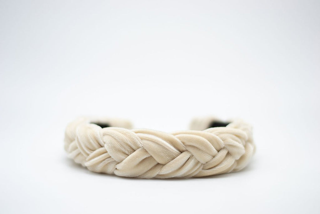 Braided Velvet Headband - Fawn