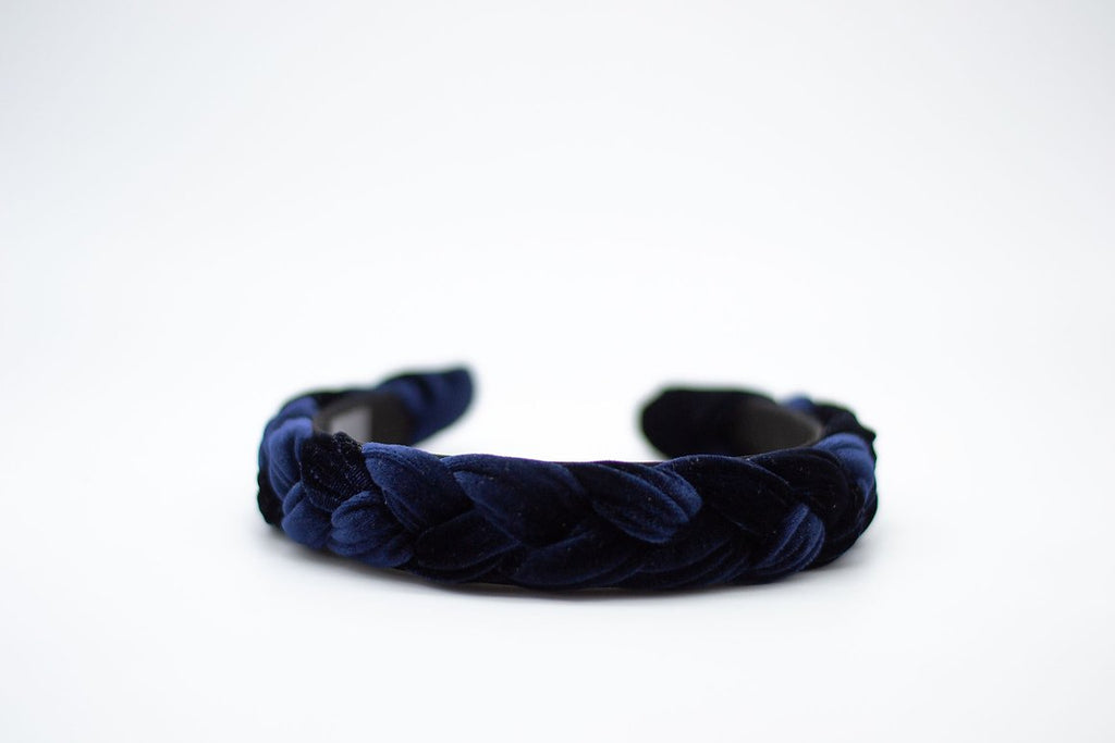 Braided Velvet Headband - Regal Blue