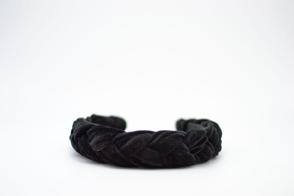 Braided Velvet Headband - Black