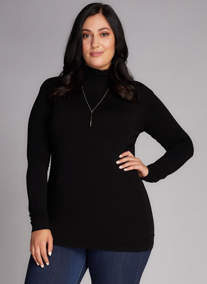 Bamboo Long-Sleeve Turtleneck Plus-size - Black