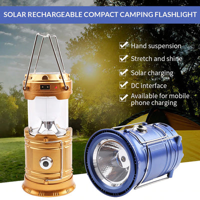 Solar Rechargeable Compact Camping Flashlight