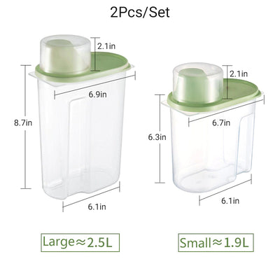 2Pcs Kitchen Storage Containers With Measuring Cup
