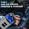 3-in-1 Car Air Ionizer, Purifier & Charger