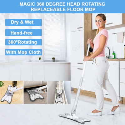 Magic 360 Degree Head Rotating Replaceable Floor Mop