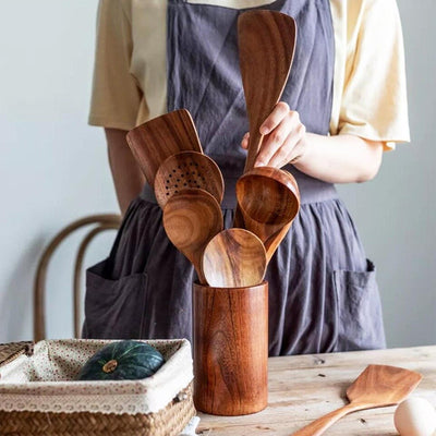 Handmade Wooden Cooking Utensils Set 7Pcs