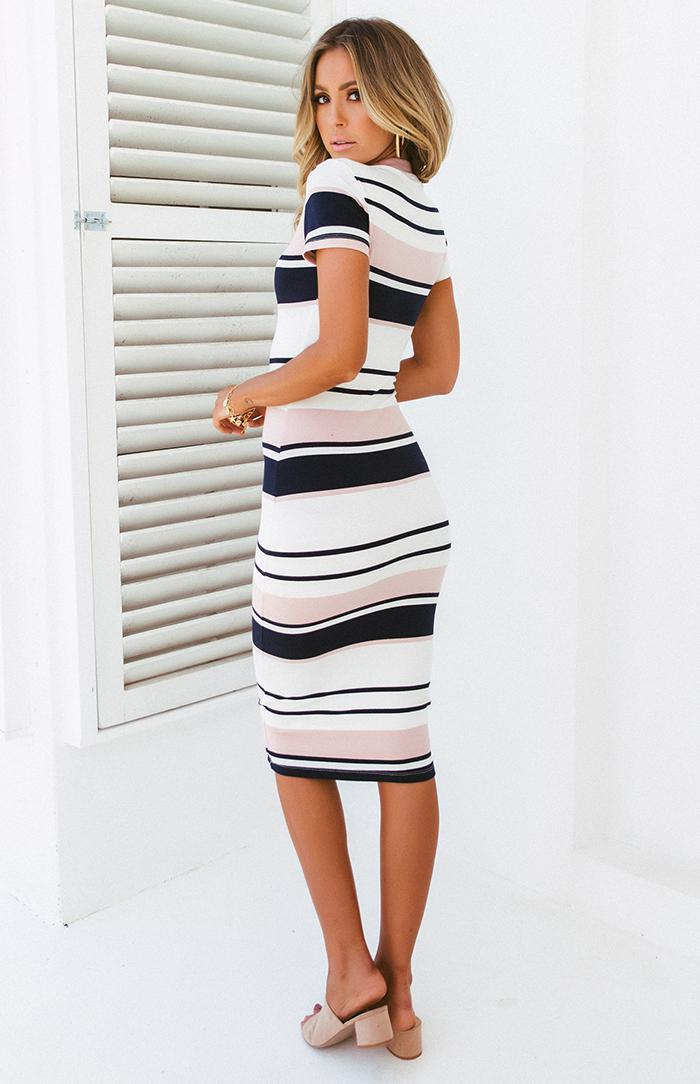 KATE DRESS - PINK STRIPE