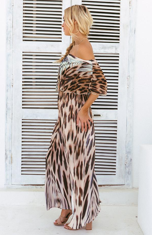 SAFARI OFF SHOULDER MAXI
