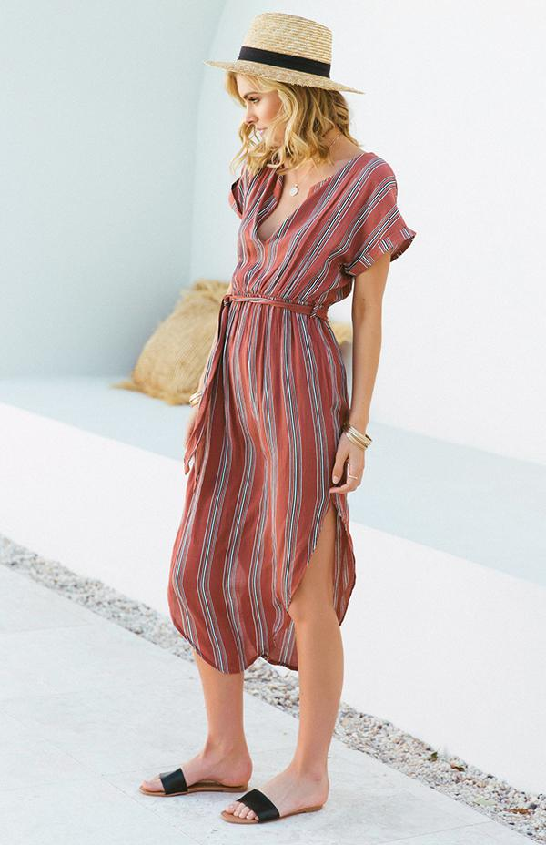PATRICIA DRESS - RUST STRIPE