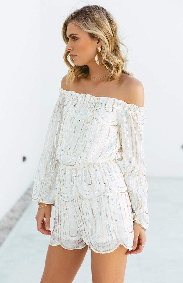 SHAANA SEQUIN PLAYSUIT - WHITE
