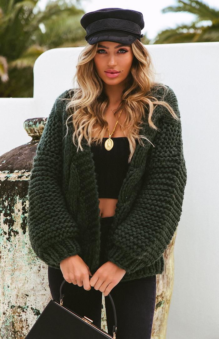 ASHBY KNIT CARDIGAN - FOREST GREEN