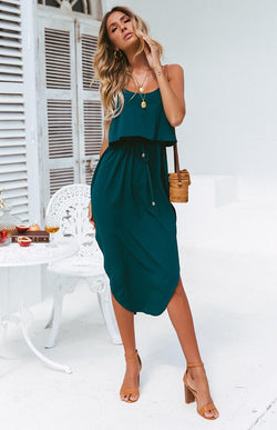 AGNES DRESS - TEAL-EMERALD