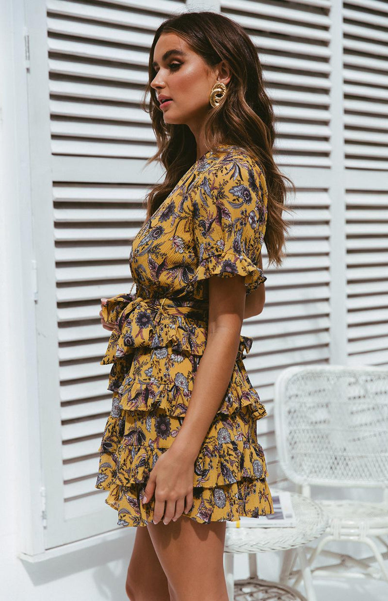 PHILLY DRESS - MUSTARD PRINT