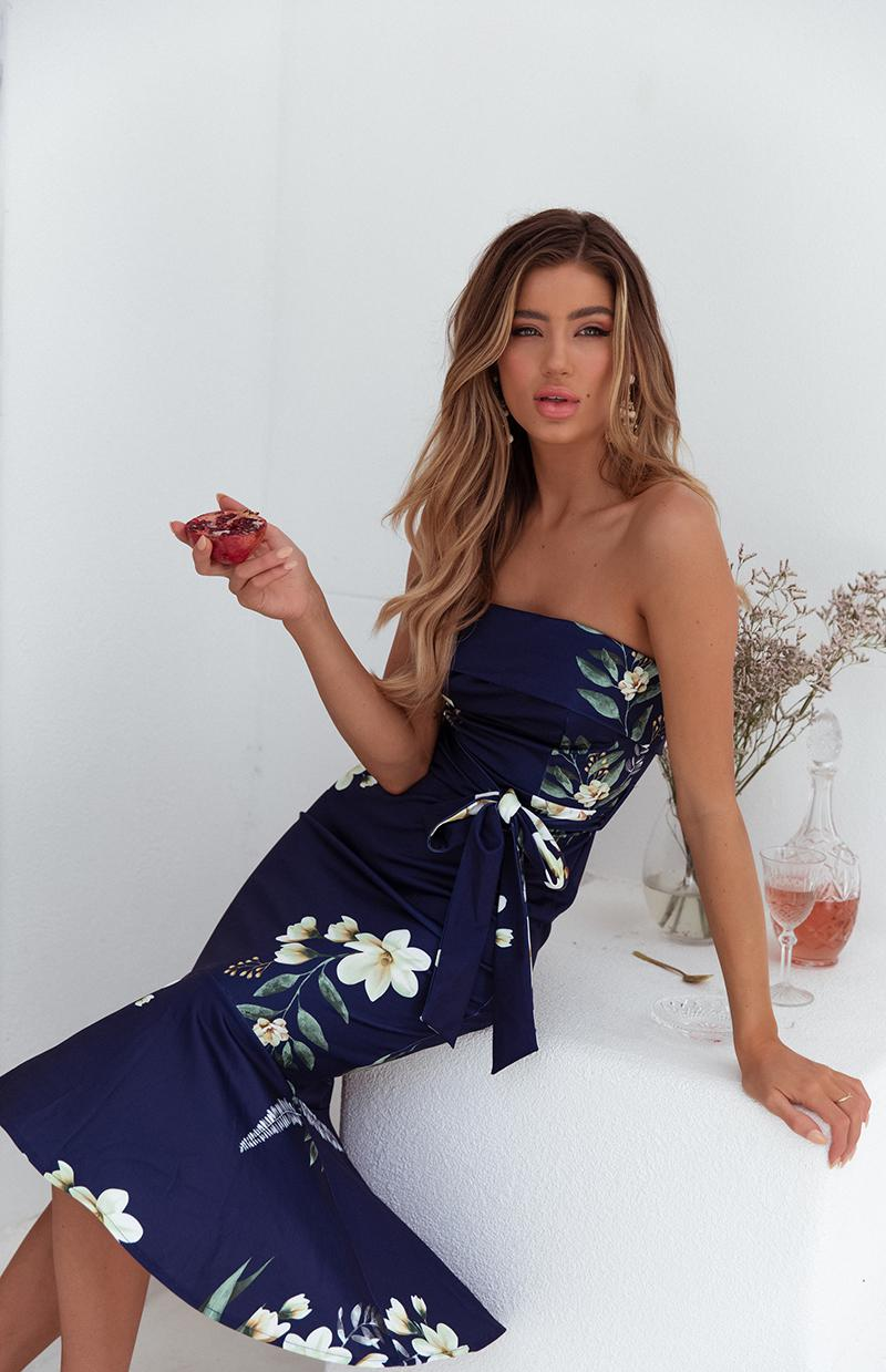 HARPER DRESS - NAVY PRINT