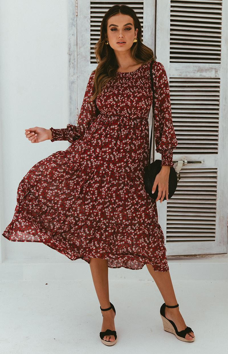 FARIDA DRESS - WINE PRINT
