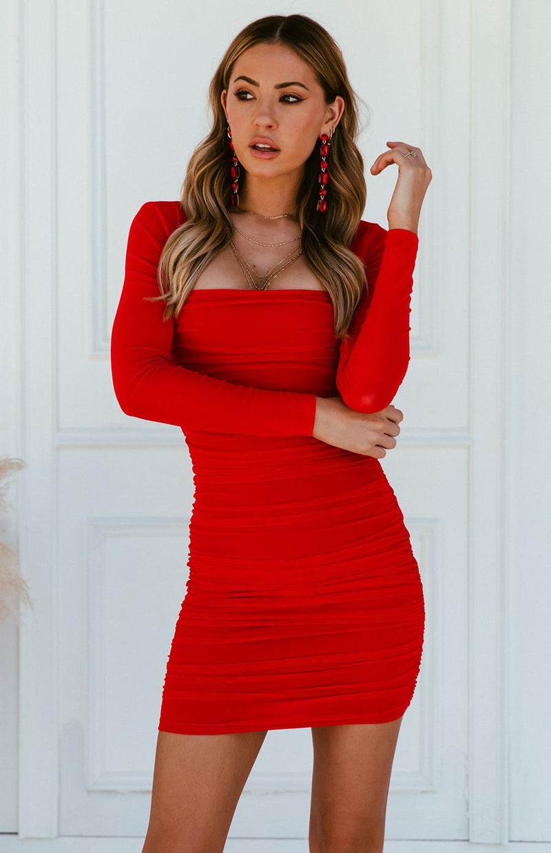 SIPPY DRESS - RED