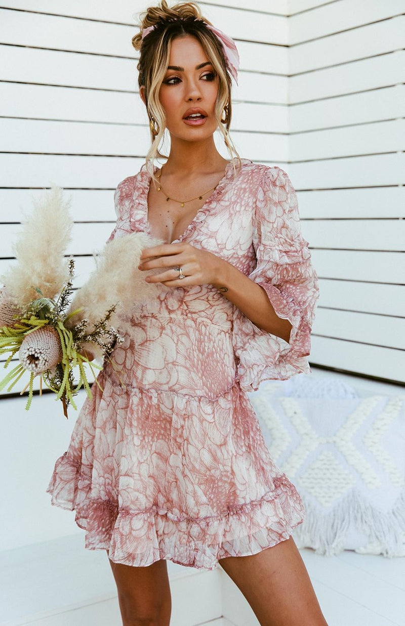 ADELINA DRESS - BLUSH PRINT