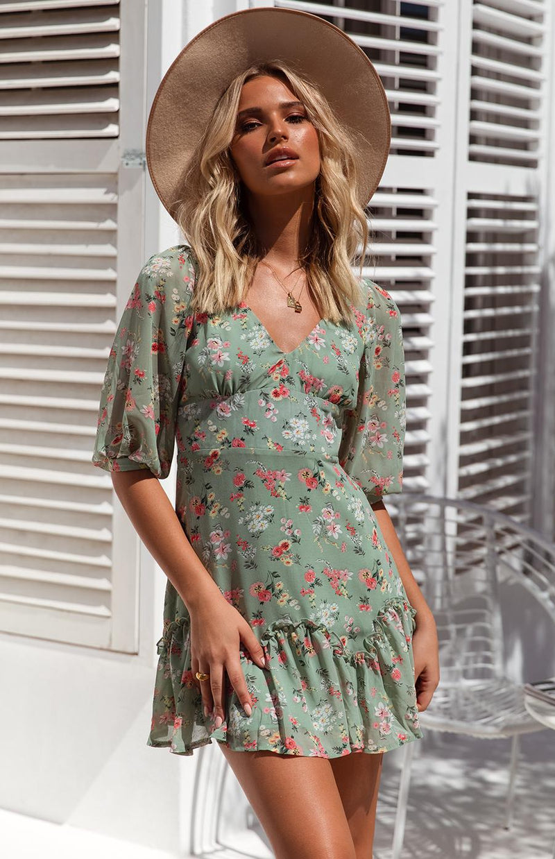 MILLIE DRESS - GREEN PRINT
