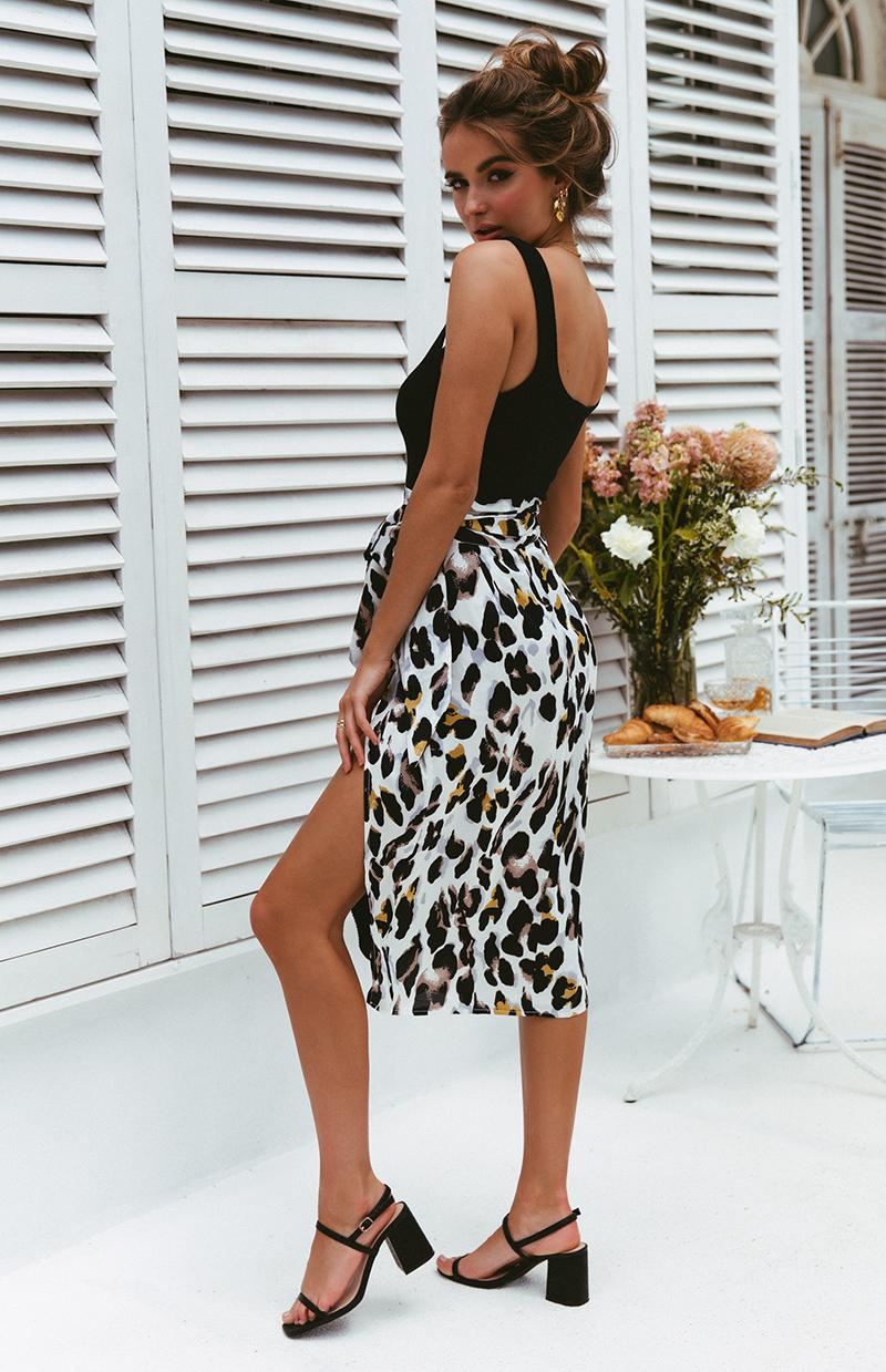 CREMA SKIRT - WHITE LEOPARD