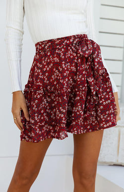 CABIN SKIRT - WINE PRINT