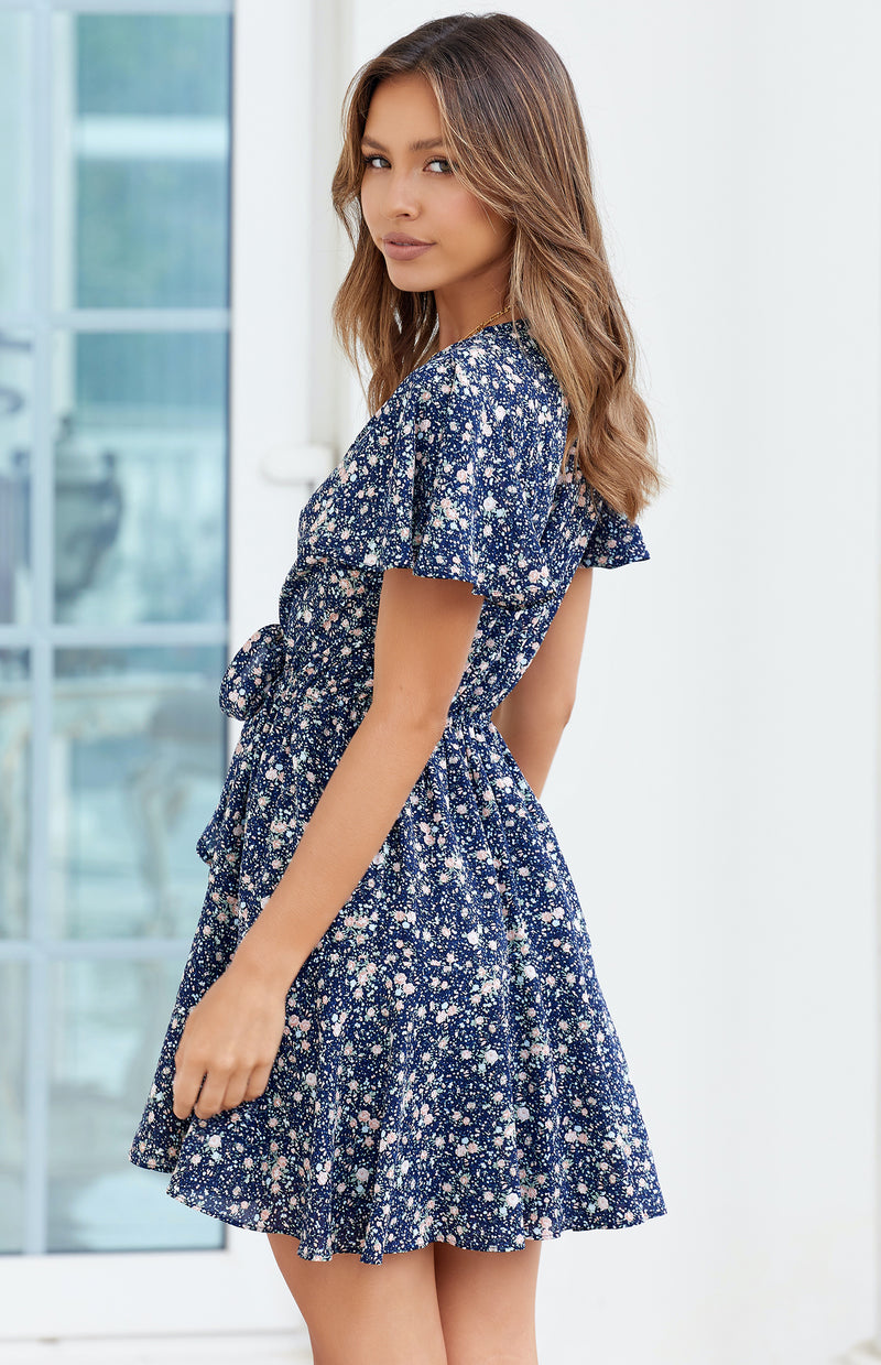 POOLI DRESS - NAVY PRINT