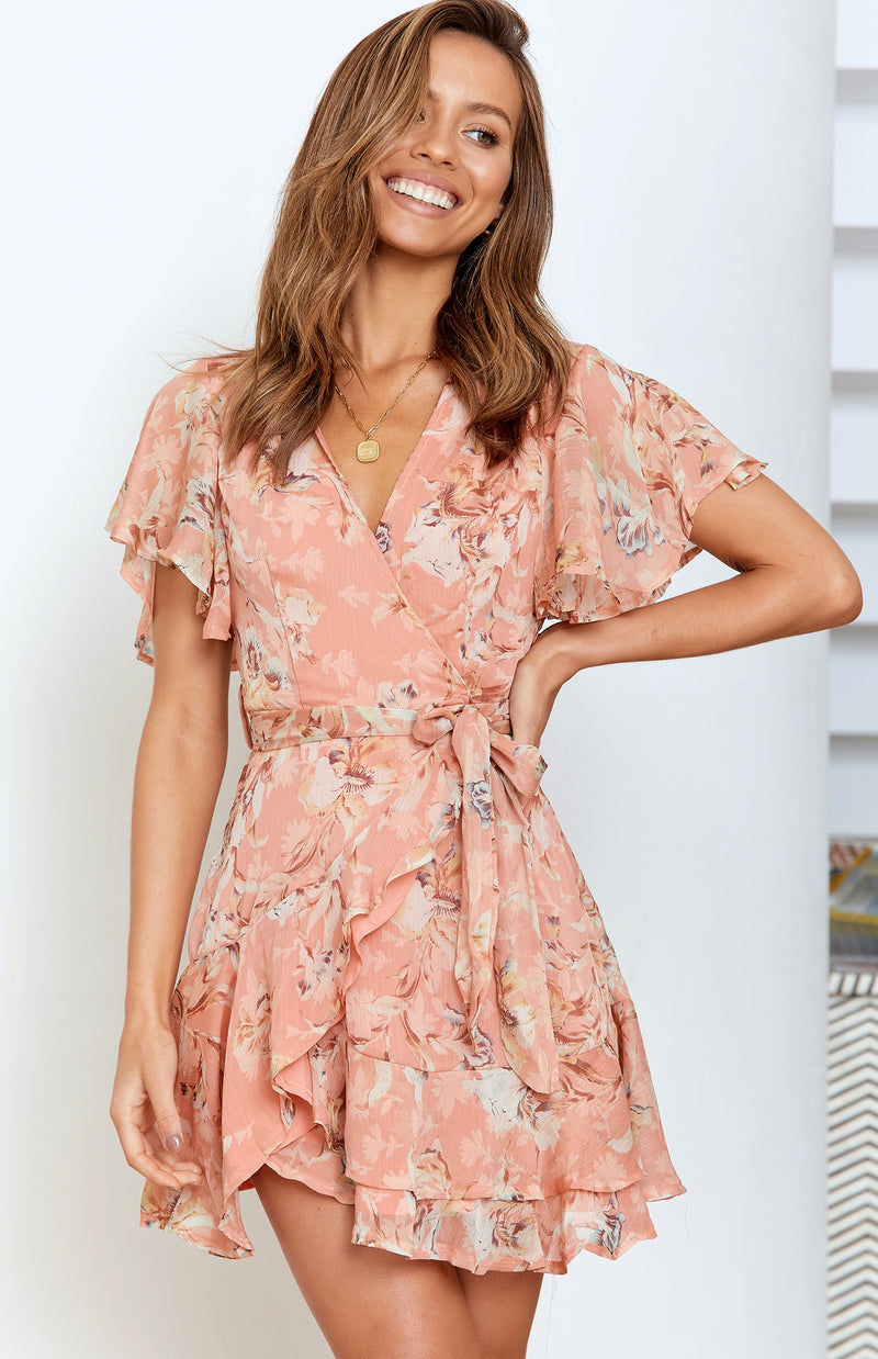 HORIZON DRESS - PEACH PRINT