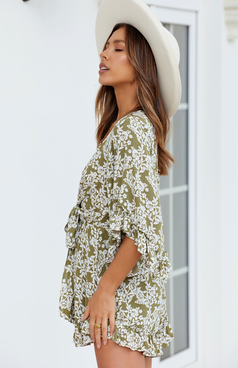 MELLOW PLAYSUIT - OLIVE PRINT