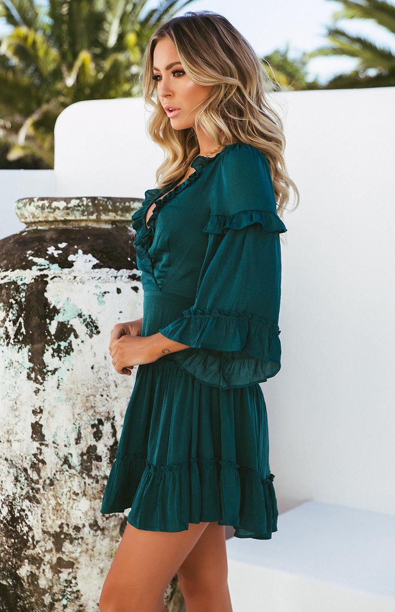 AIKEN DRESS - FOREST GREEN