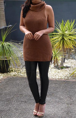 SLEEVELESS ROLL NECK KNIT - TAN