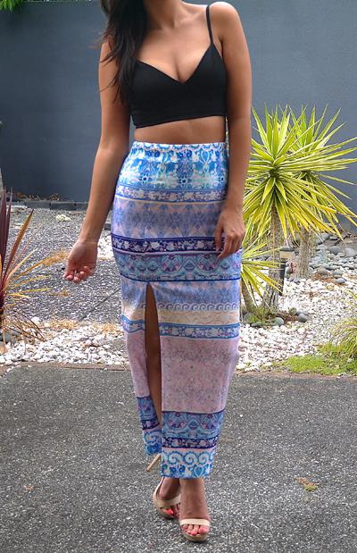 COACHELLA MAXI SKIRT - BLUE PRINT