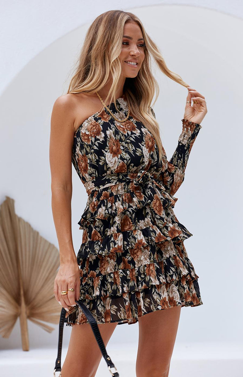 CASCADE DRESS - BLACK PRINT