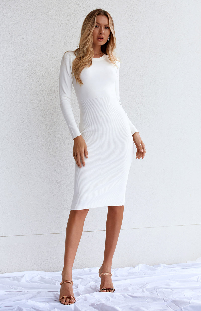NALA RIBBED MIDI - WHITE