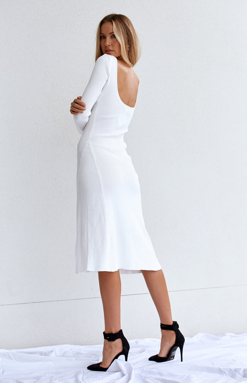 MALENA KNIT DRESS - WHITE