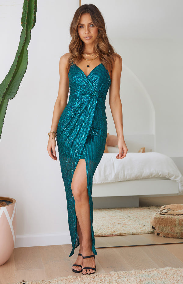 ESRA MAXI - TEAL SEQUIN