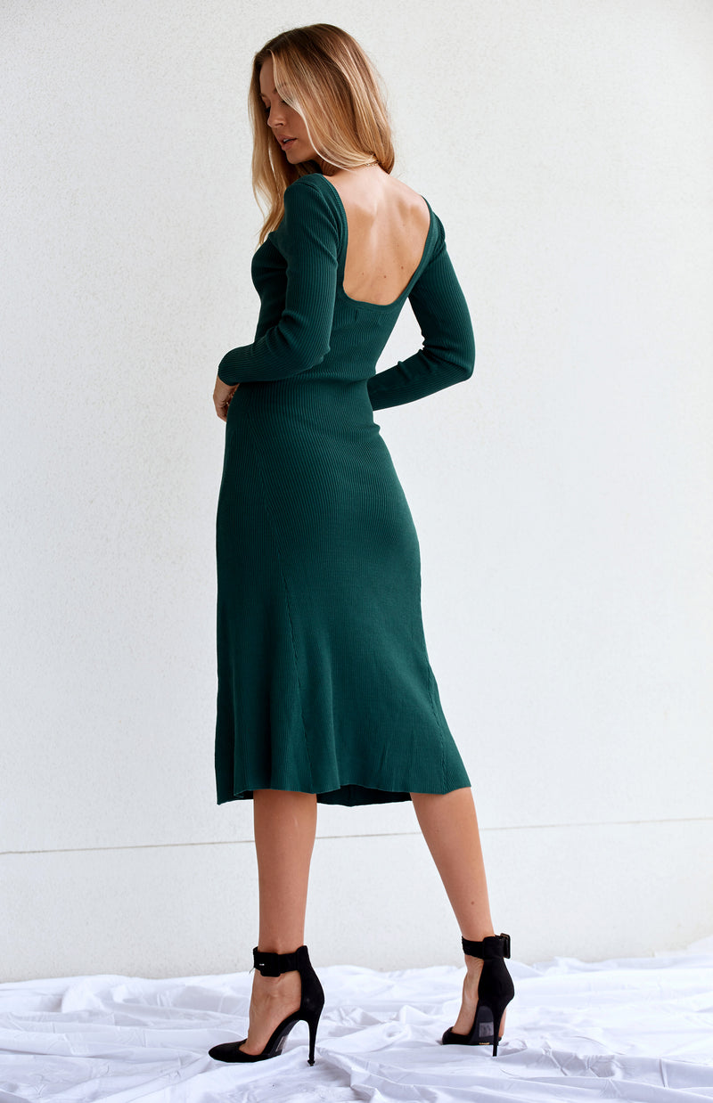 MALENA KNIT DRESS - EMERALD